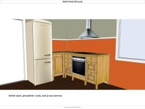 Küchenzeile mit Kühlschrank und Abzugshaube